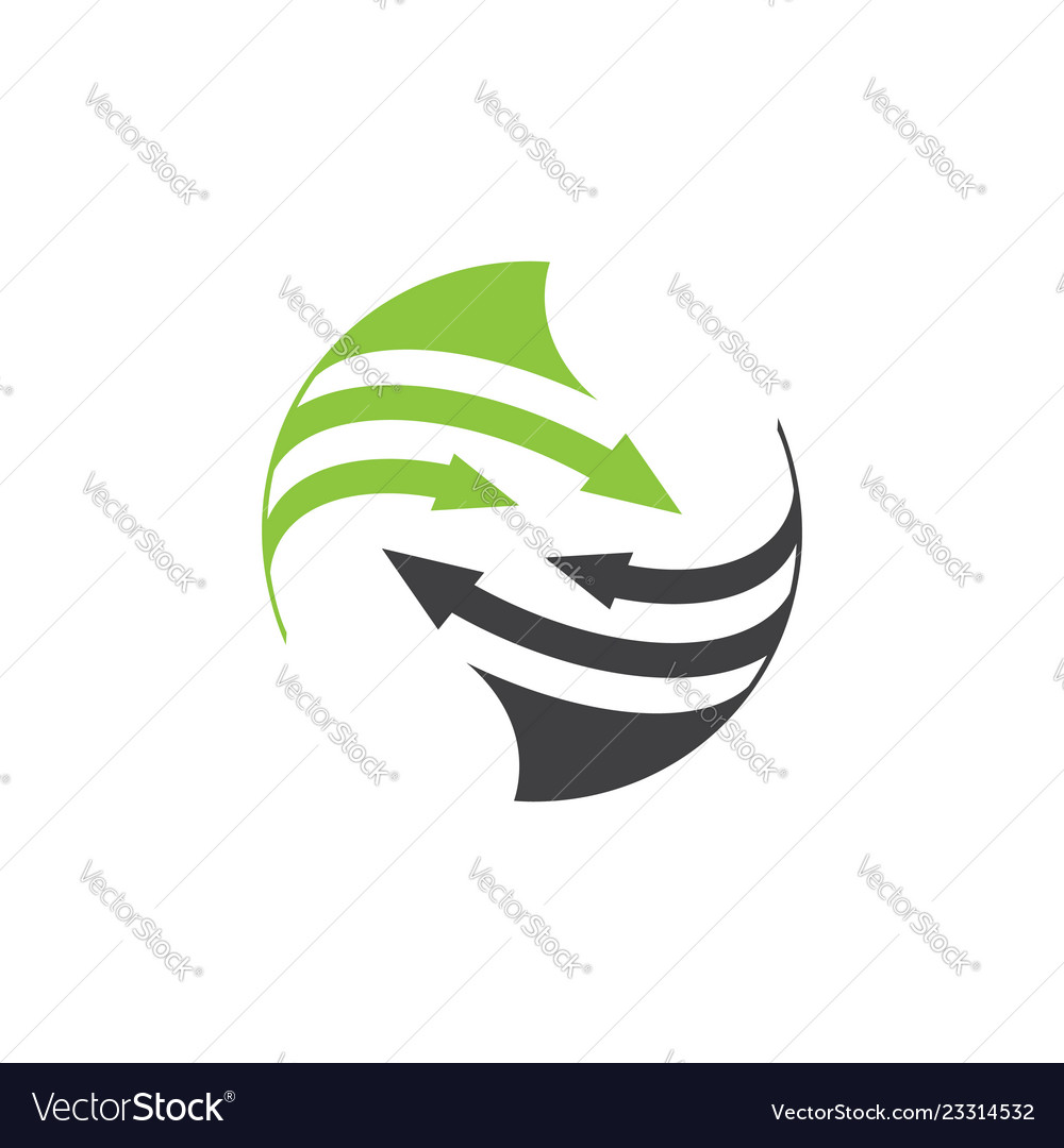Rounded arrow planet logo orbit and satellite logo