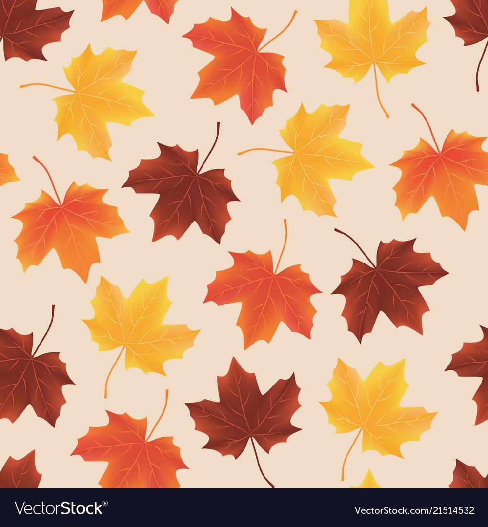 Seamless pattern texture fallen autumn leaves Vector Image