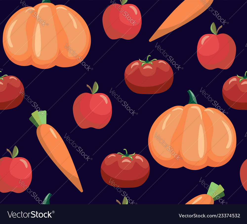 Seamless pattern with vegetables vegetables on