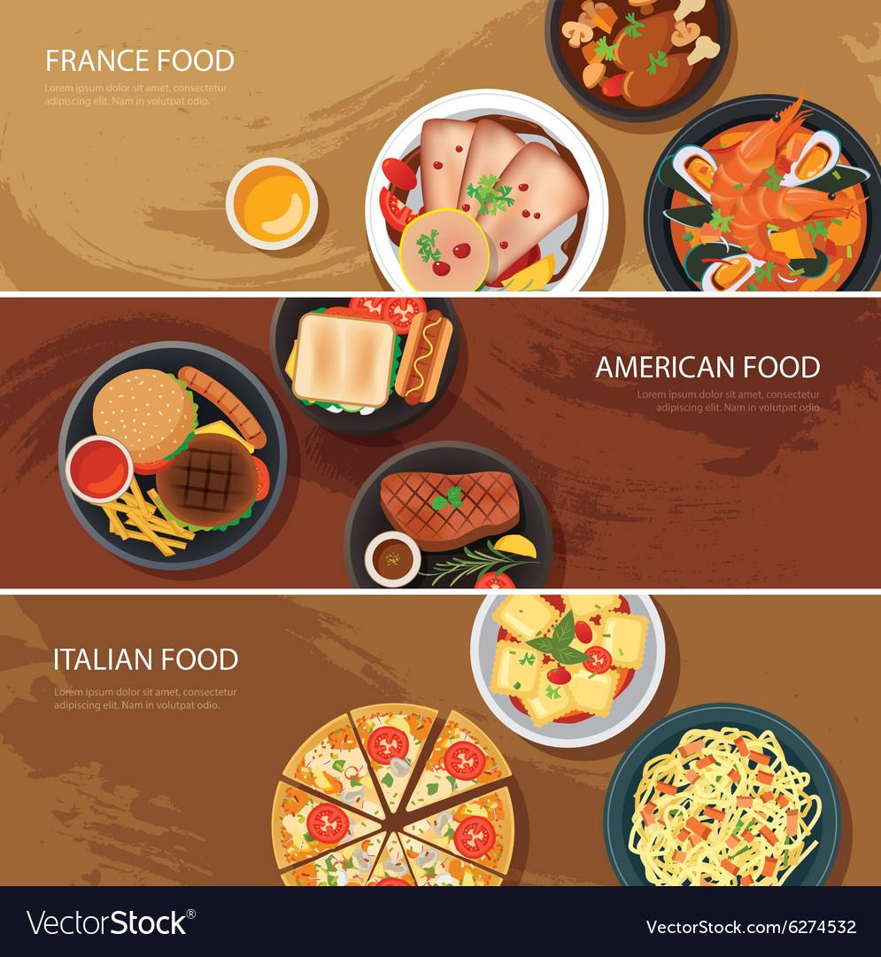 Set of food web banner flat design