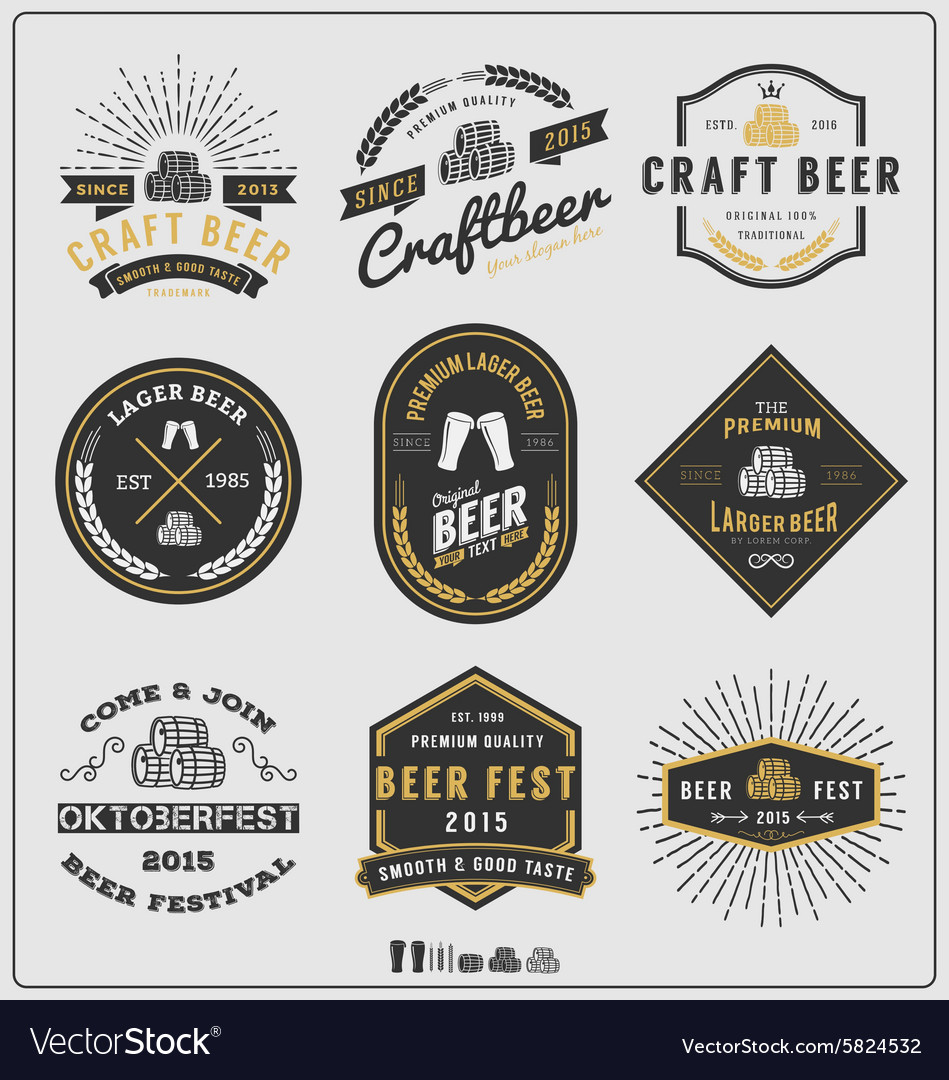 Set of vintage beer badge logo and labels template vector image