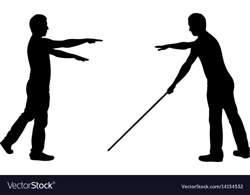 Silhouettes of blind men
