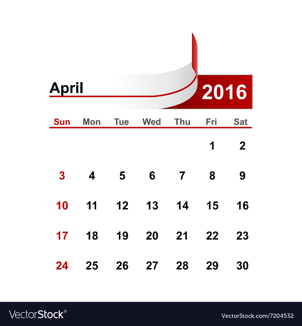 Simple calendar 2016 year april month