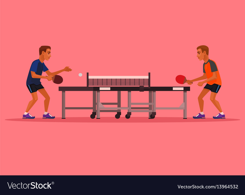 Two man characters playing tennis vector image