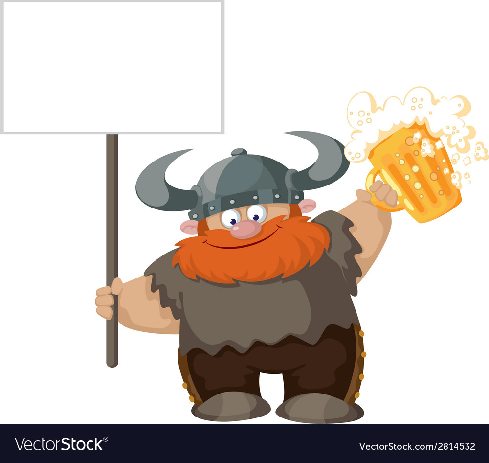 Viking with blank sign and beer