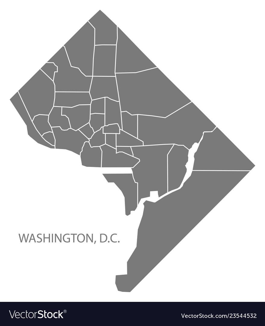 Washington dc city map with neighborhoods grey Vector Image on