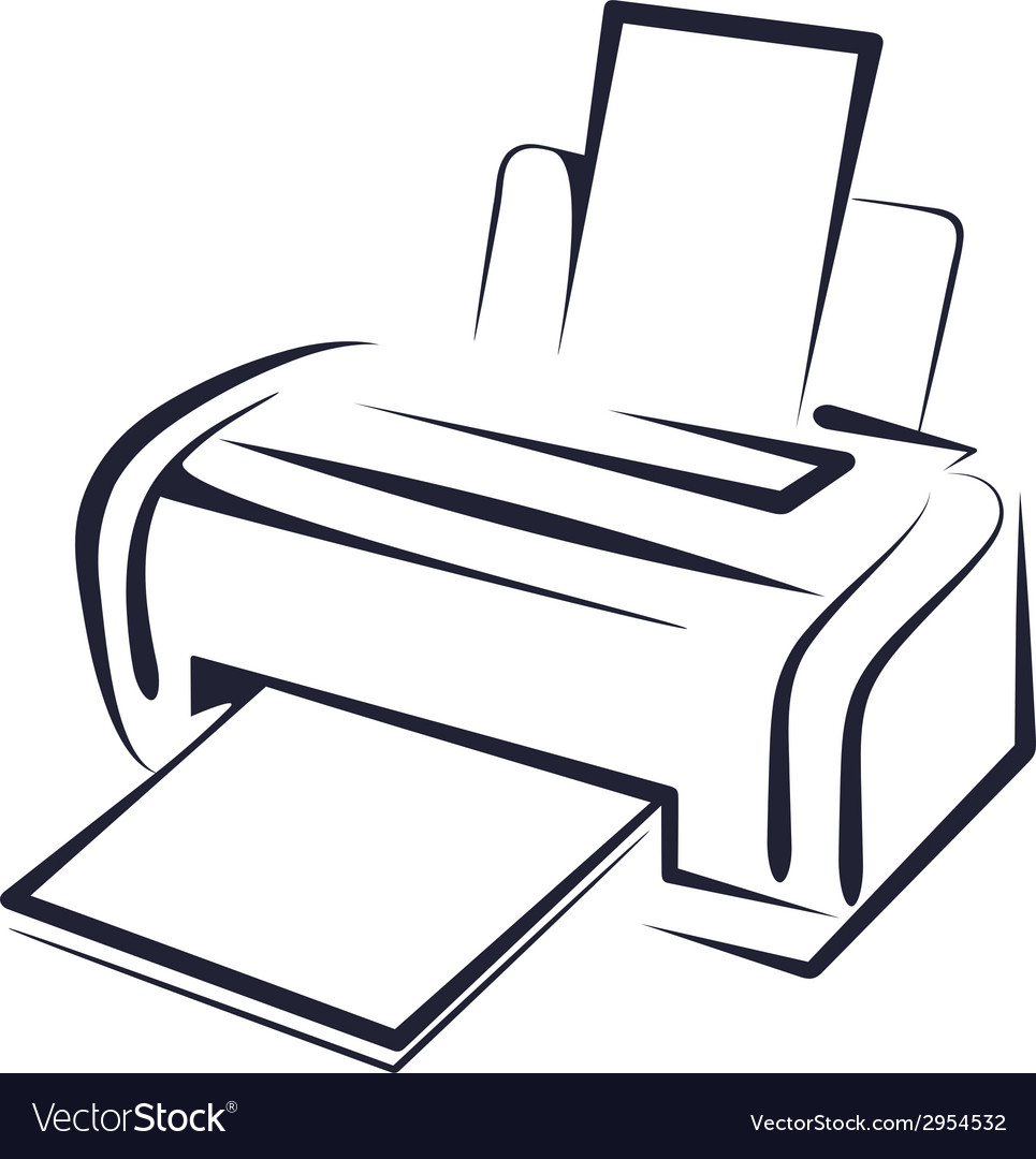 with a printer royalty free vector image vectorstock vectorstock