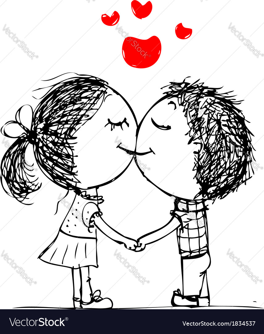 Couple kissing valentine sketch for your design vector image