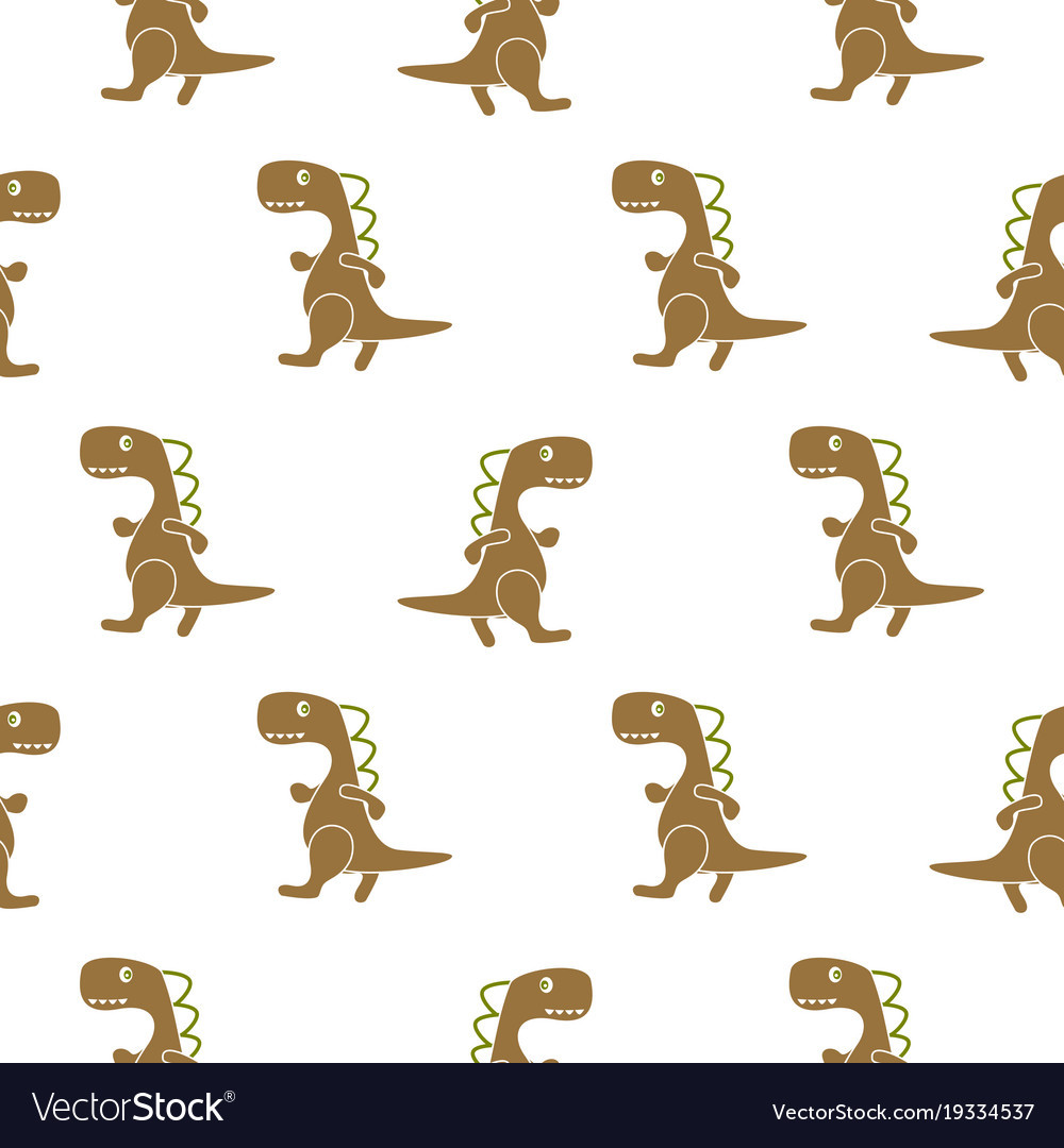 Dino simple brown color seamless pattern