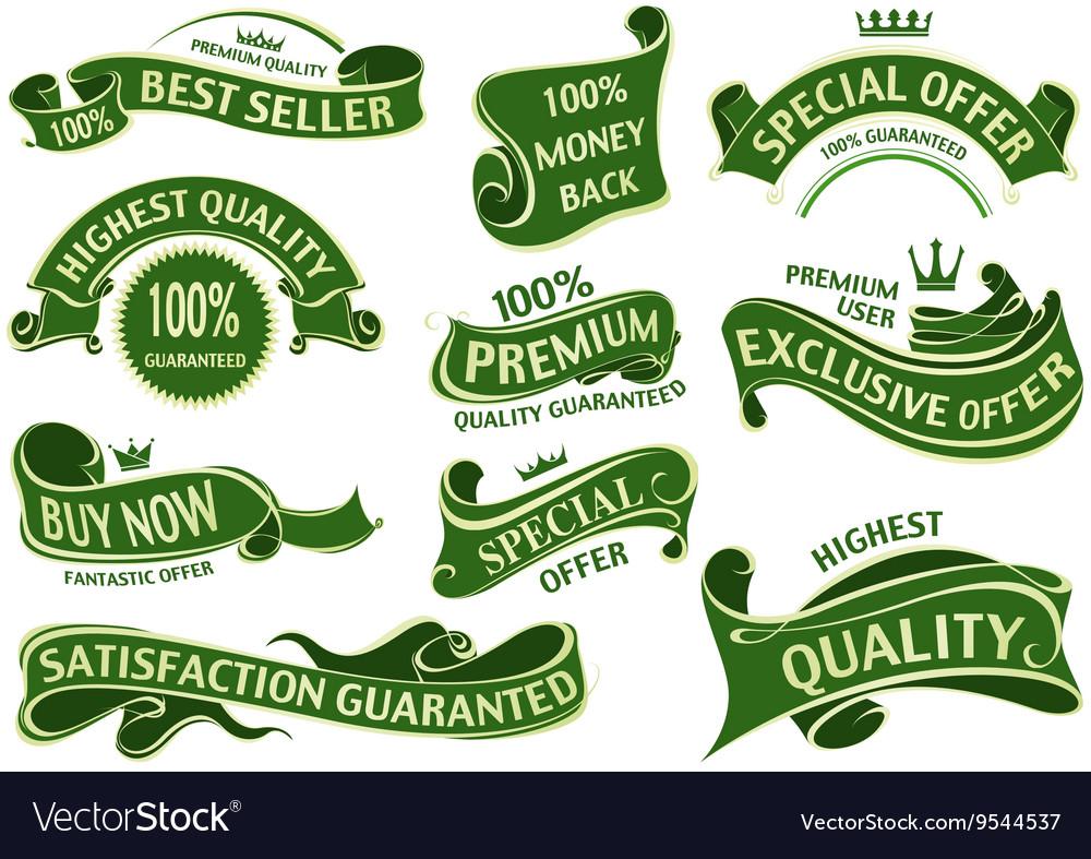 Green Banner Ribbon Set