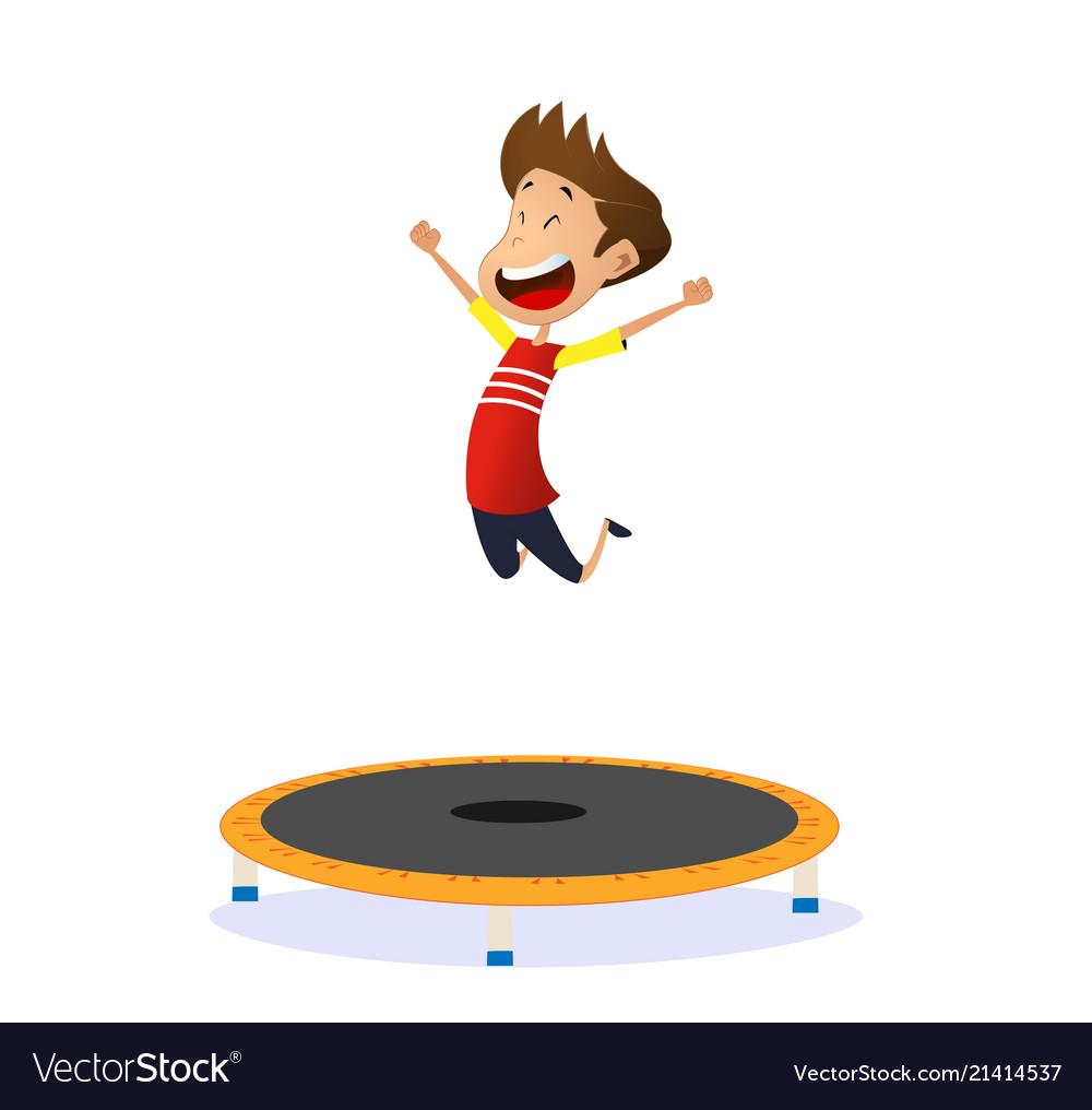Happy preschool kid jumping on trampoline