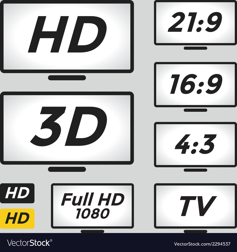 High definition icon and TV monitor