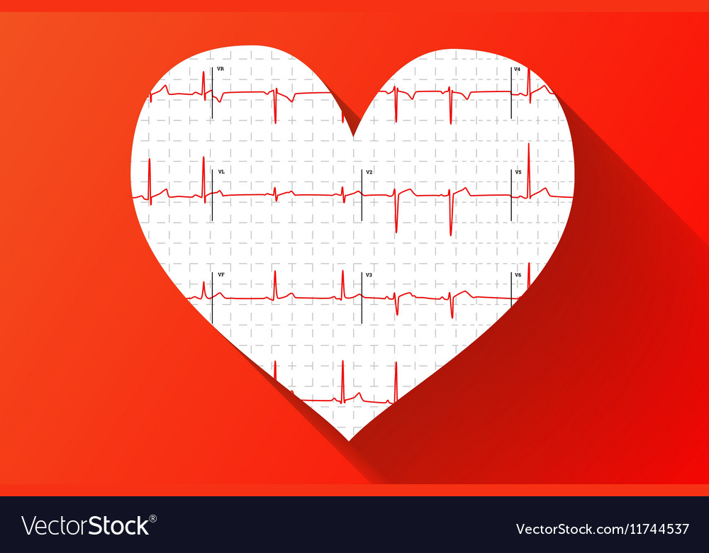 Human electrocardiogram in heart shape with long