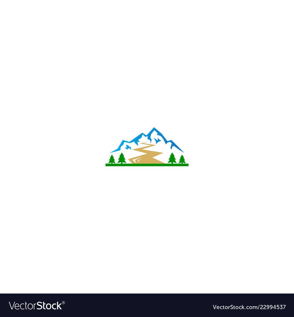 Mountain peak hill pine tree logo
