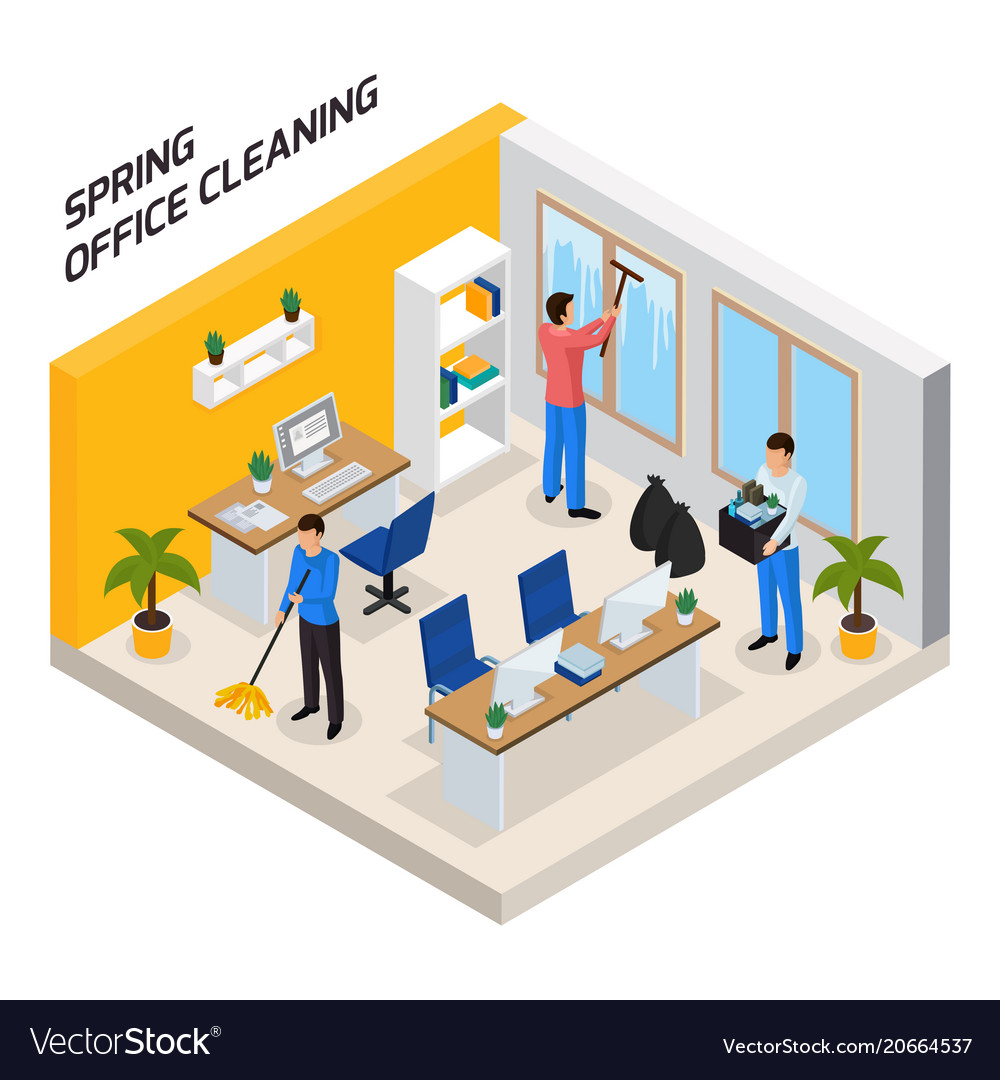 Office cleaning isometric composition vector image