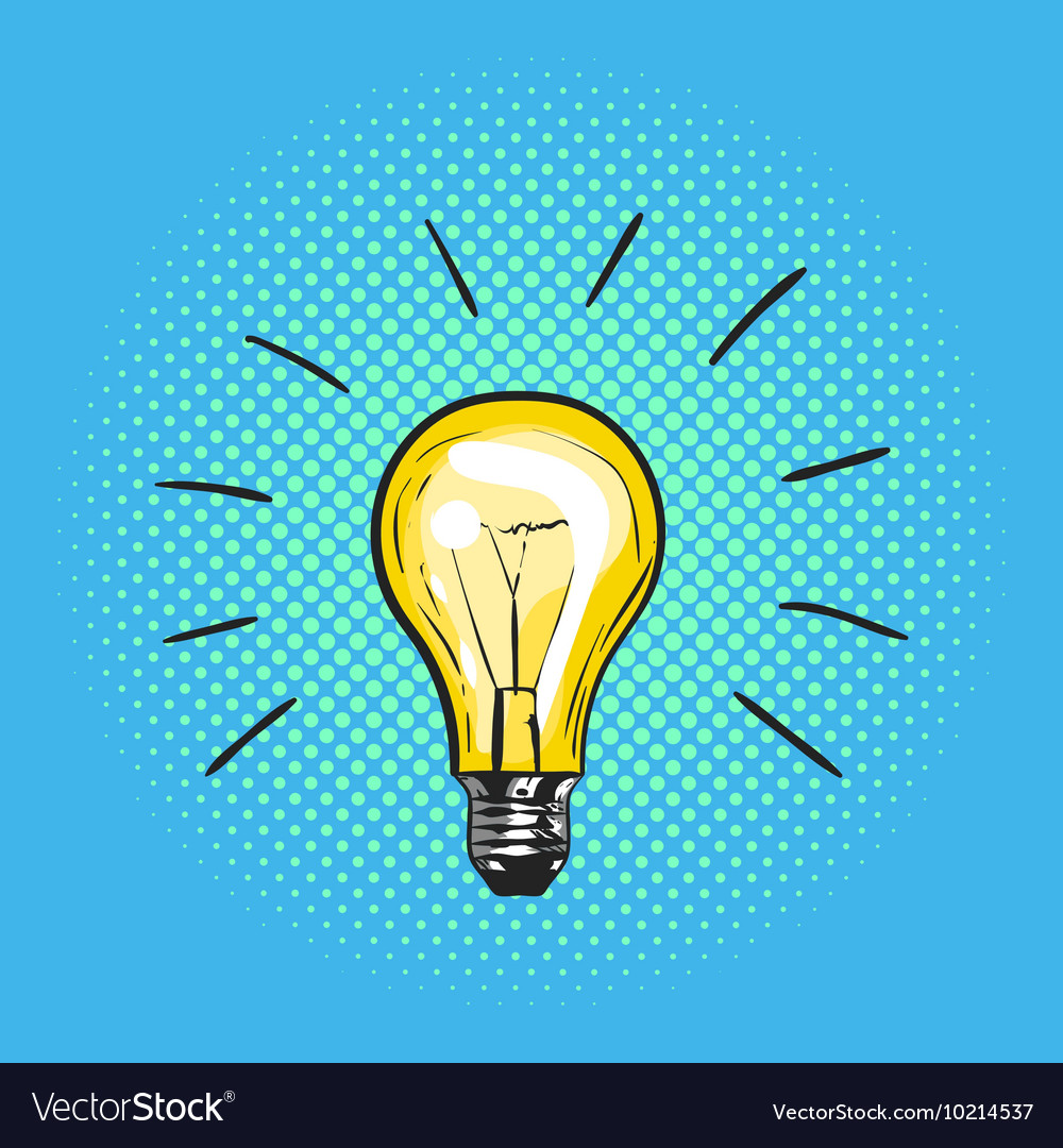 Pop art light bulb Concept of new idea Hand drawn vector image