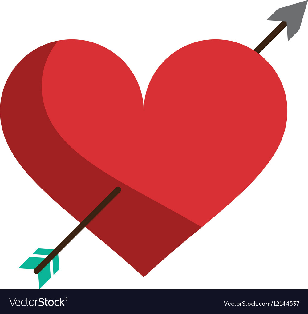 Red Heart With Arrow Love Symbol Royalty Free Vector Image