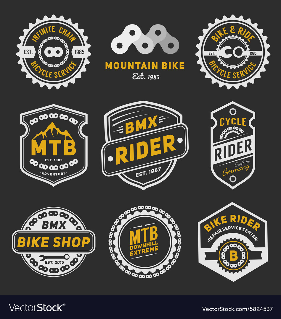 Set of bicycle badge logo template design