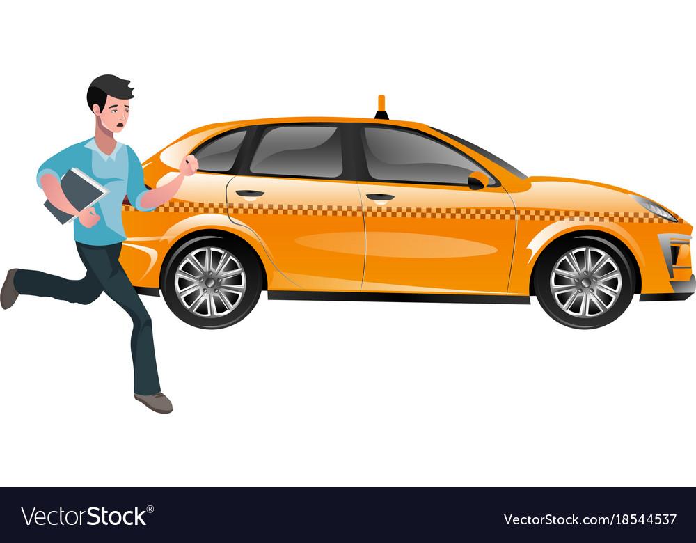 Successful businessman hailing a taxi