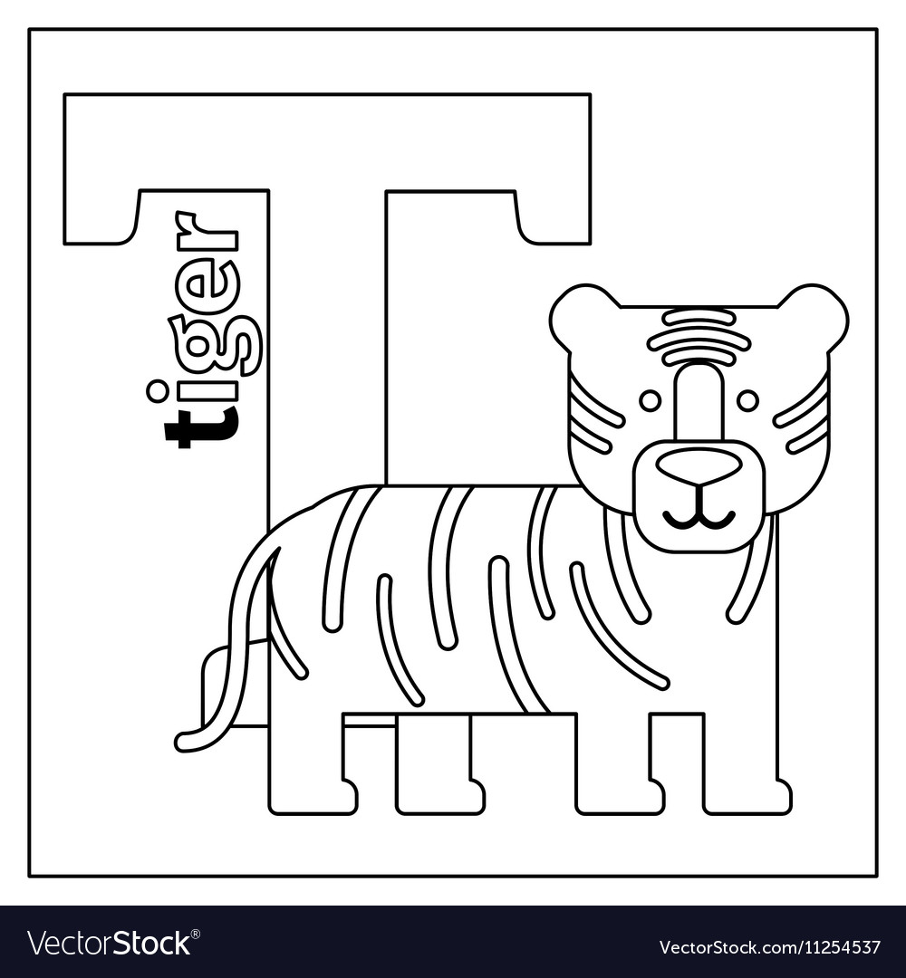 Tiger Letter T Coloring Page Vector Image