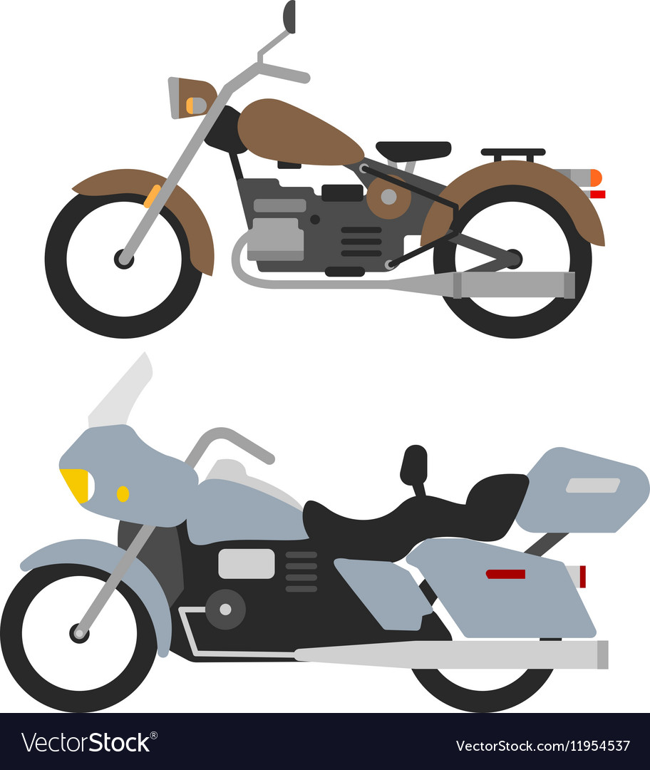 Two retro motorbikes isolated on white vintage