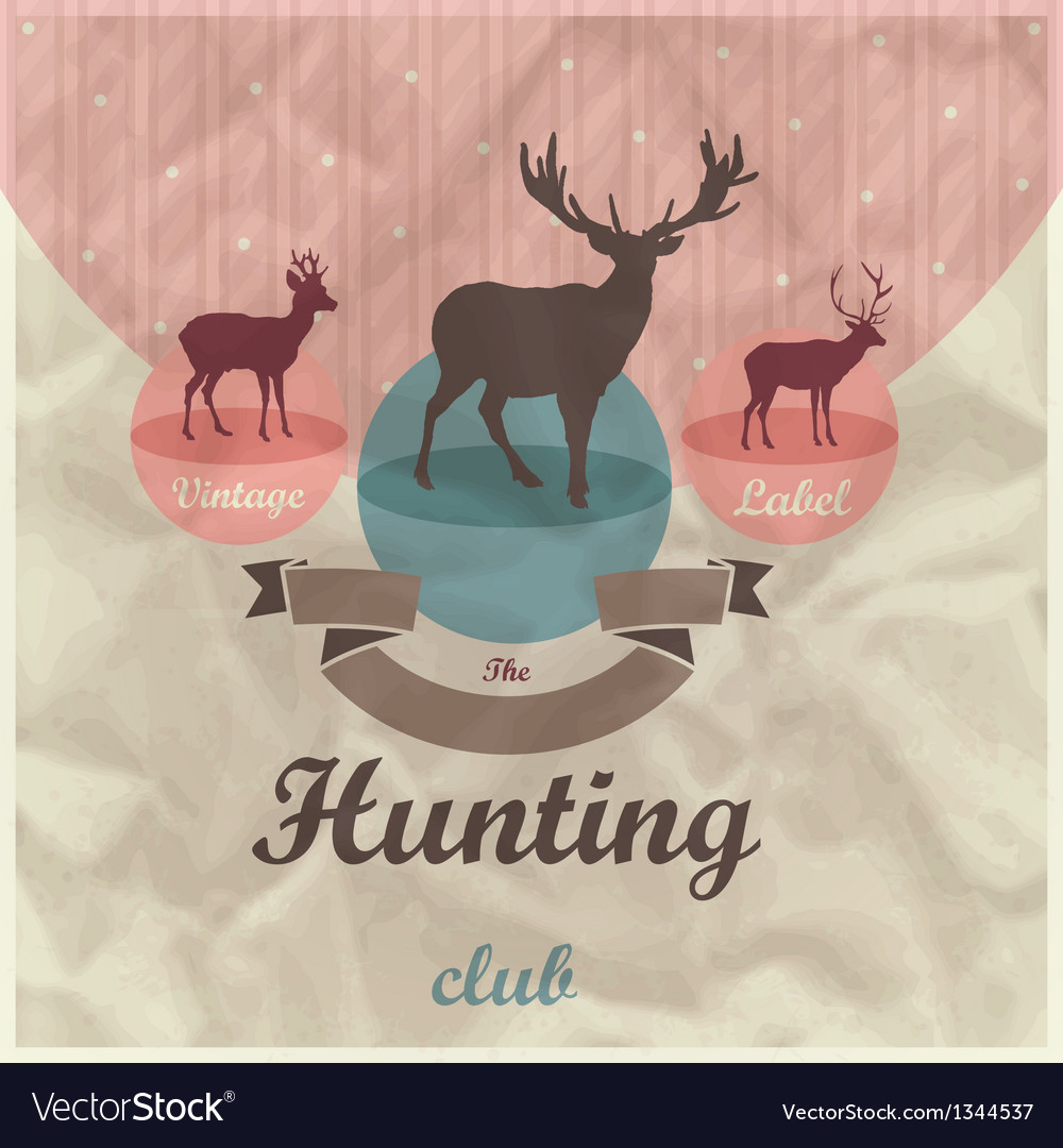 Vintage labe background with deers vector image