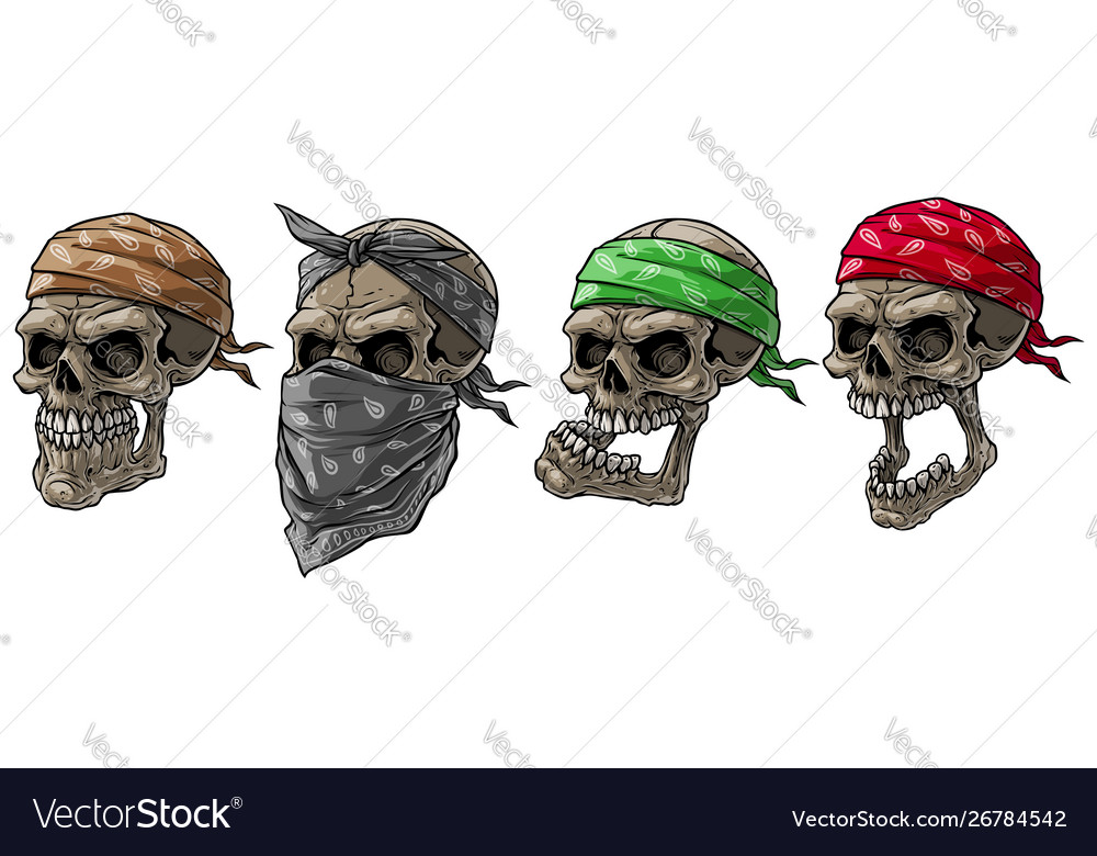 Cartoon biker skulls with bandana and scarf