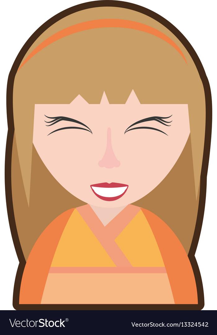 Cartoon girl geisha kimono diadem