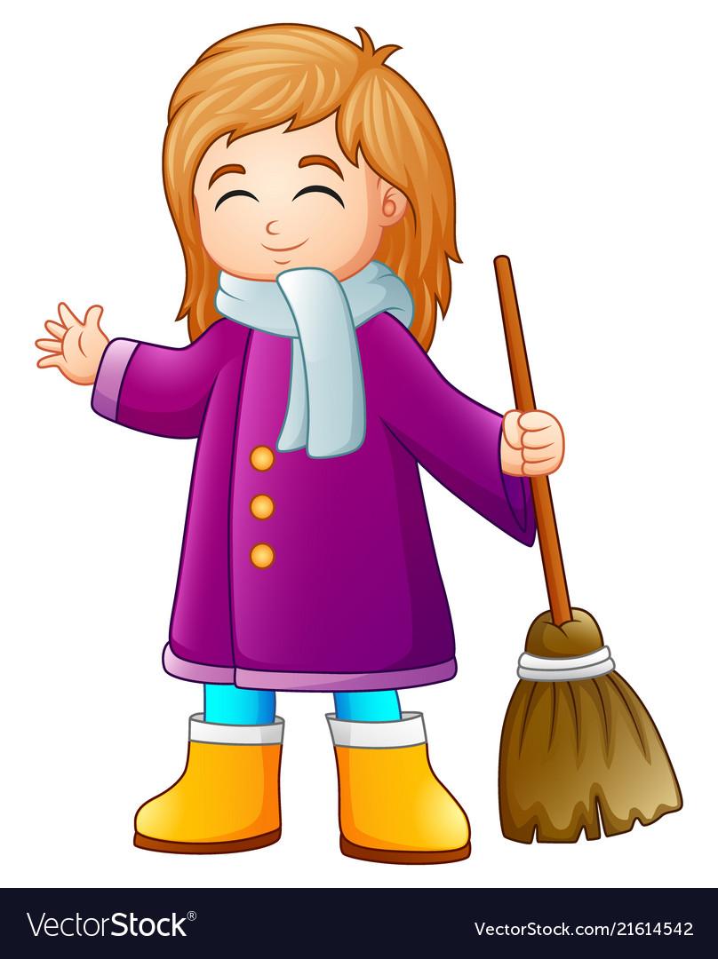 Cartoon girl holding a broo
