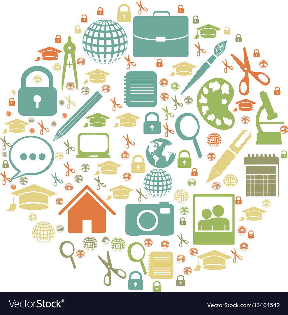 Color social tools inside big bubble icon vector image