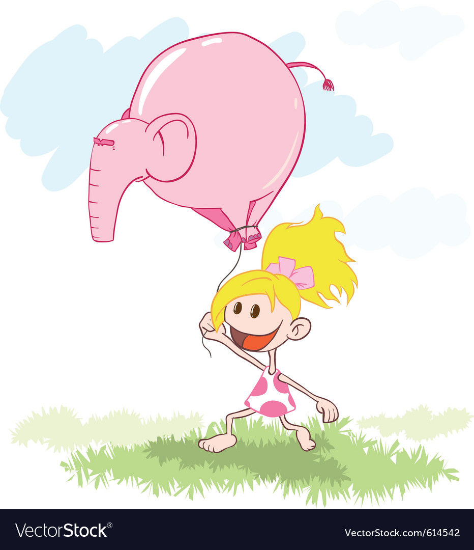 Girl with a pink elephant balloon