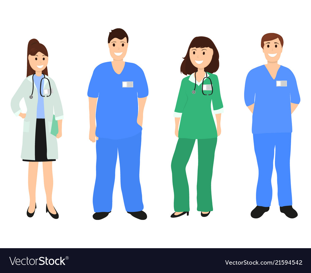Group doctors in a hospital flat design