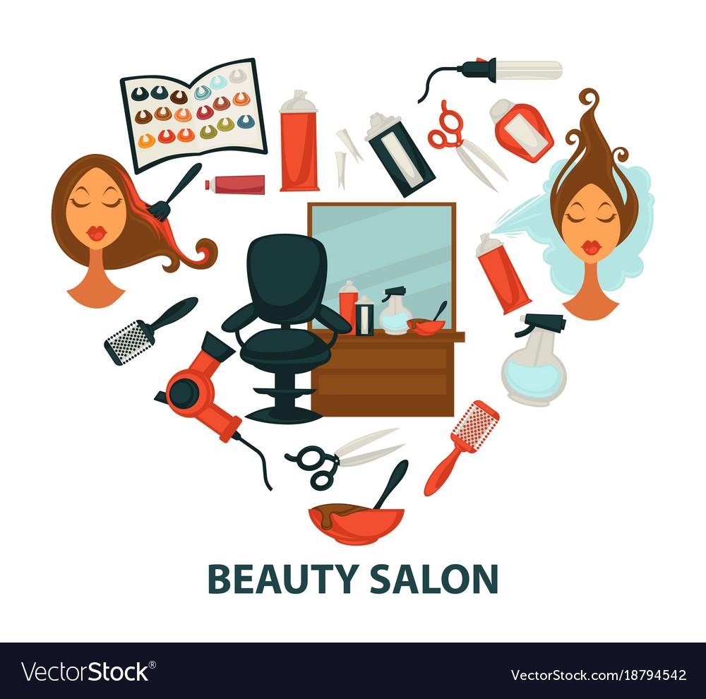 Hair Beauty Salon Hairdresser Parlor Heart Vector Image