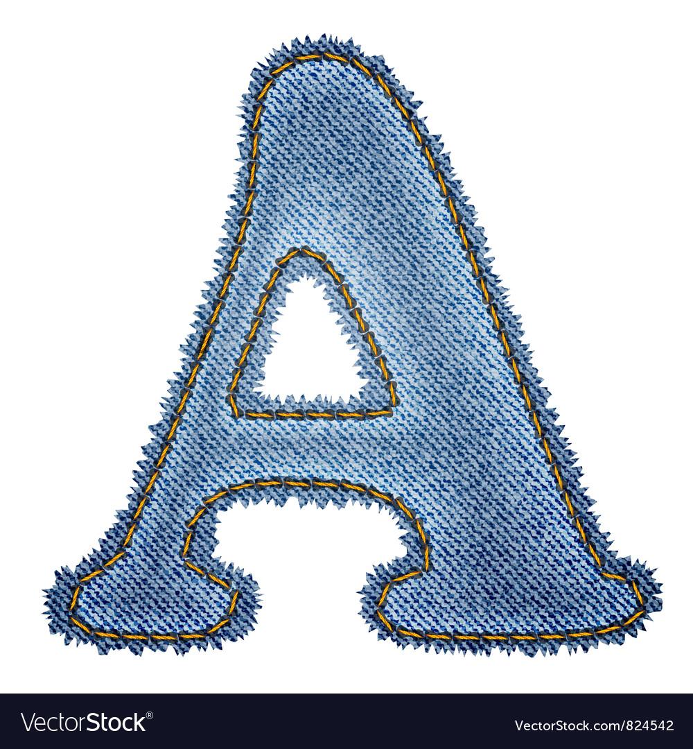 Jeans alphabet Denim letter A