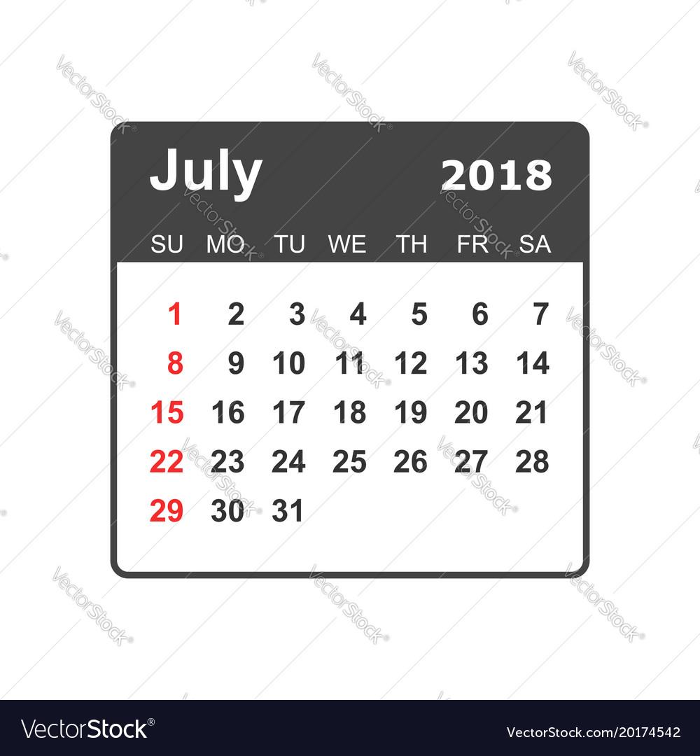 july 2018 calendar calendar planner design vector image