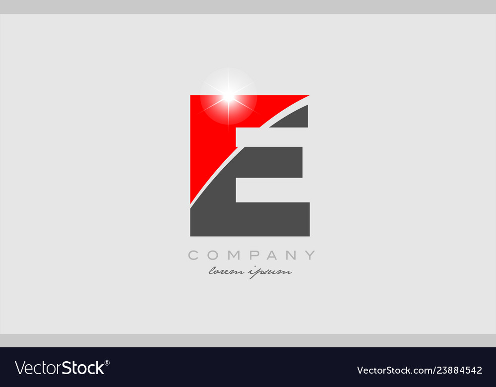 Letter E In Grey Red Color Alphabet For Logo Icon