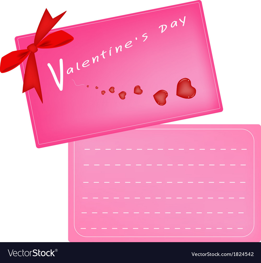 Lovely Pink Valentine Card with Red Ribbon