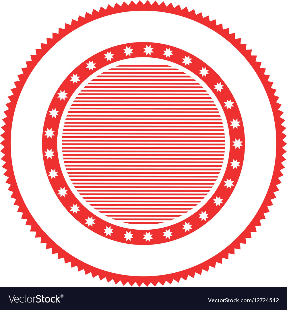 Red Circular Stamp Abstract Art Deco Emblem Vector Image