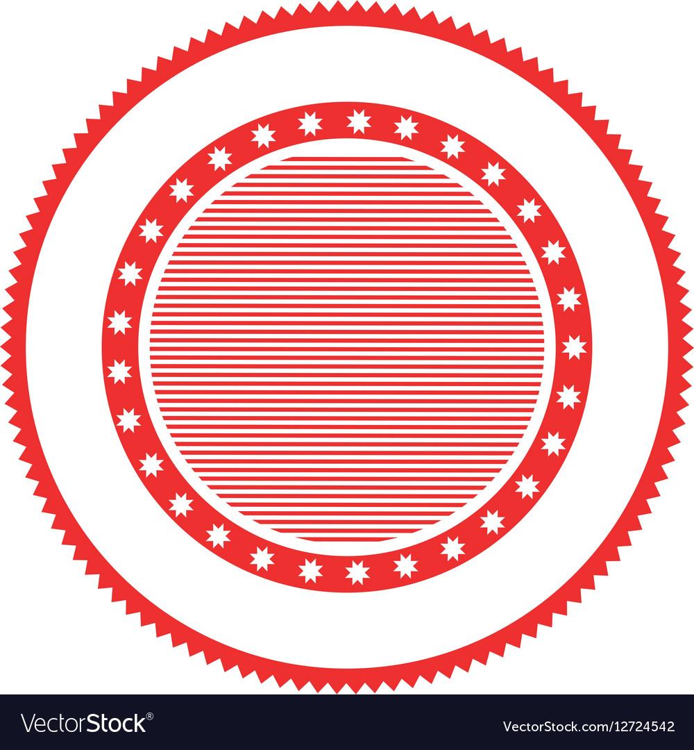 Red circular stamp abstract art deco emblem