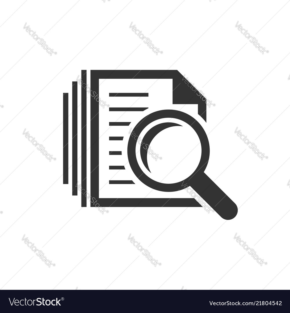Scrutiny document plan icon in flat style review