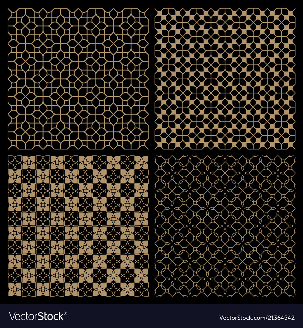 Set four dark seamless flower patterns in