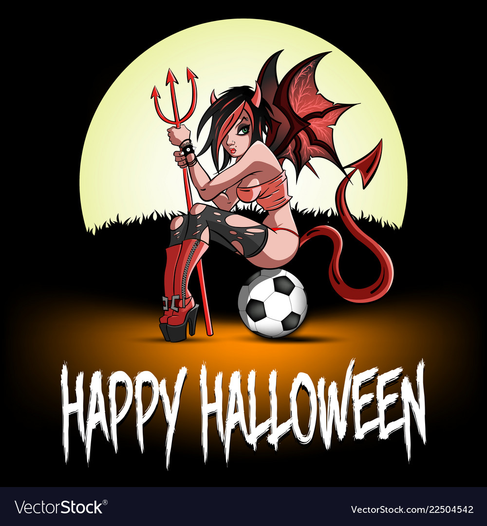 Sexy devil woman sitting on a soccer ball