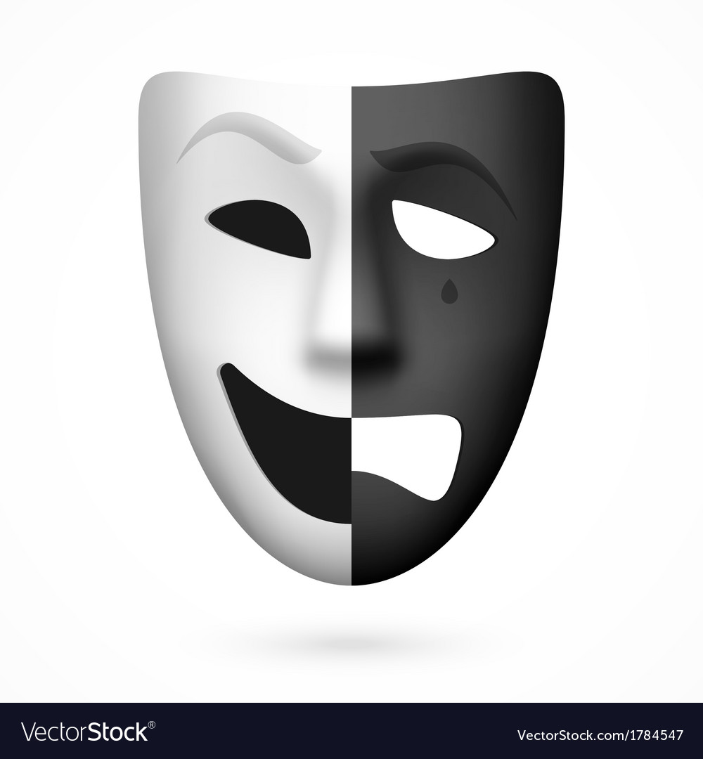 comedy and tragedy theatrical mask royalty free vector image