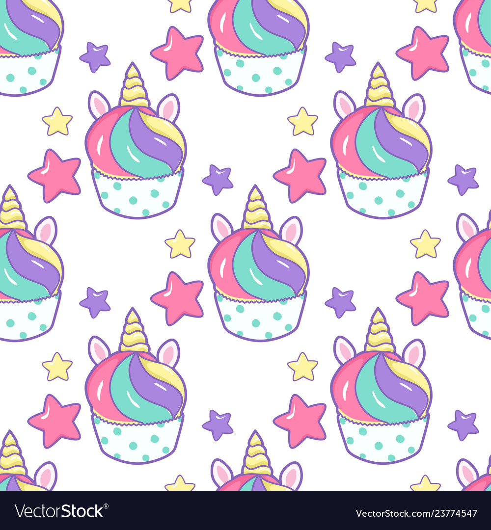 Cupcake unicorn kawaii magic food seamless