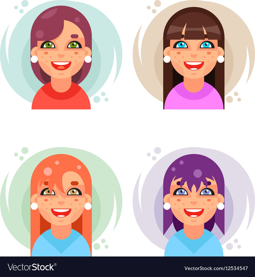 Cute girl avatar icons set flat design
