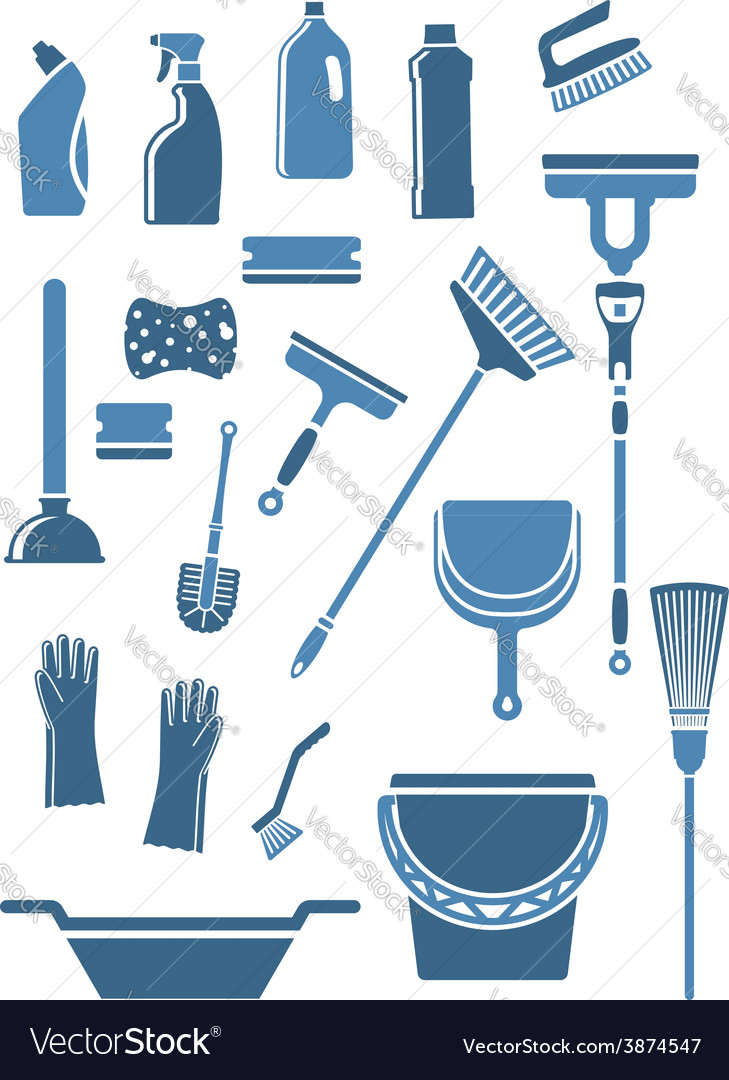 Domestic cleaning tools and supplies vector image