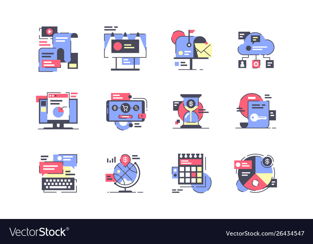 Flat marketing icon set with mobile device