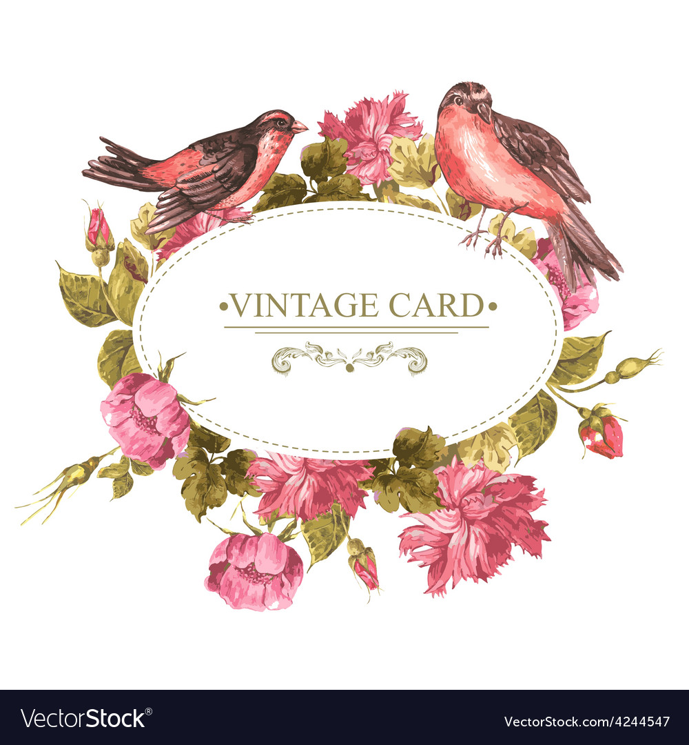 Floral Bouquet with Roses and Bird Vintage Card