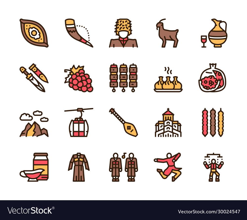 Georgia color linear icon set georgian culture