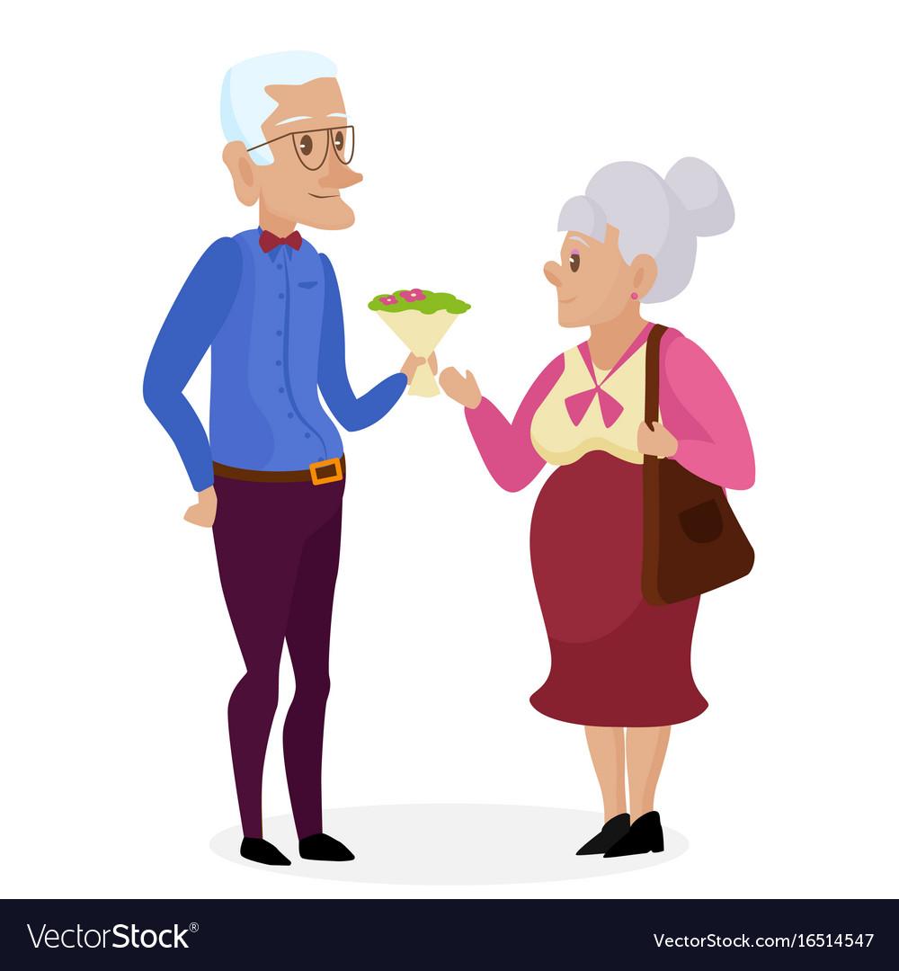 Grandpa gives flowers to grandma happy